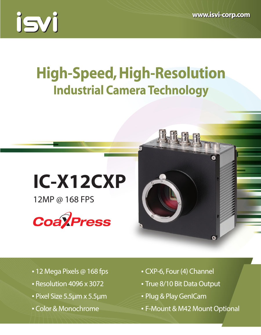 ISVI 12MP @ 168fps B/W CoaXPress Camera   IC-M12CXP