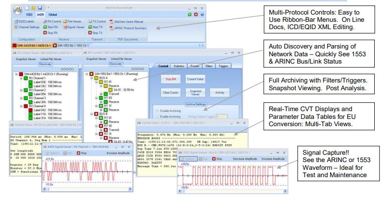 AltaView Bus Analyzer for 1553, ARINC and WMUX